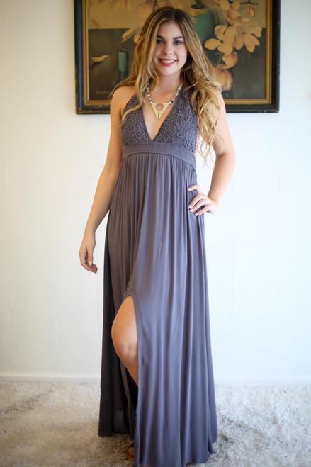 Summer Evenings Charcoal Crochet Lace Maxi Dress front view.