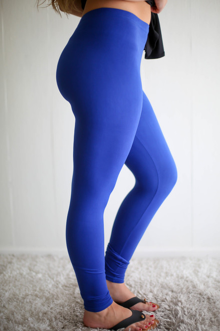 Simple Perfection Royal Blue Butter Soft Leggings side view.