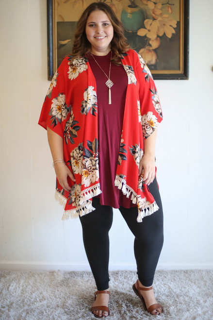 Amazing Flourish Tomato Floral Printed Women's Kimono full body front view.