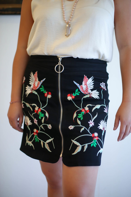 Embroidered Style Black Zipper Front Mini Skirt front view.