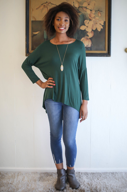 Simply Basics Dark Green Slouchy 3/4 Sleeve Top full body front view.