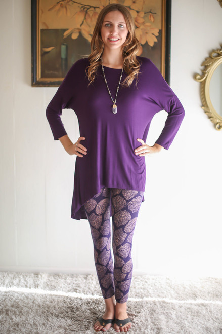 Simply Basics Eggplant Slouchy 3/4 Sleeve Top full body front view.