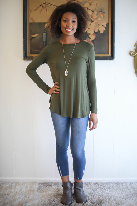 Simply Basics Army Green Long Sleeve Top full body front view.