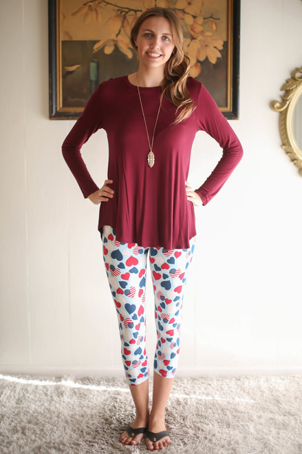 Simply Basics Wine Rose Long Sleeve Top full body front view.