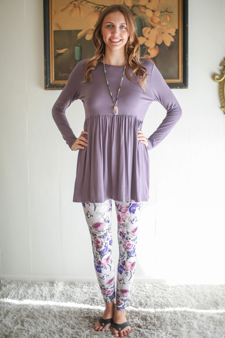 Simply Basics Silver Sand Long Sleeve Ruffle Tunic full body front view.