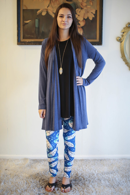 Simply Basics Heather Blue Everyday Long Sleeve Cardigan full body front view.