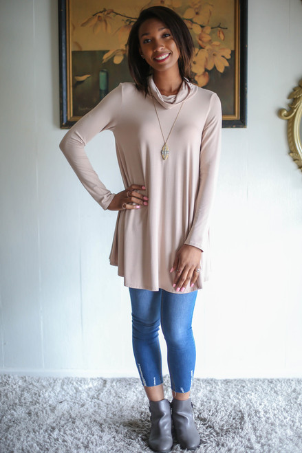 Simply Basics Taupe Long Sleeve Cowl Neck Tunic full body front view.