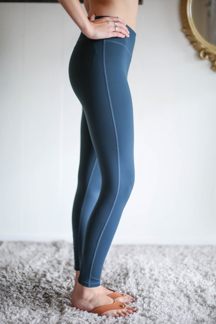 Activated Athletics Blue Lattice Leggings with Pocket side view.