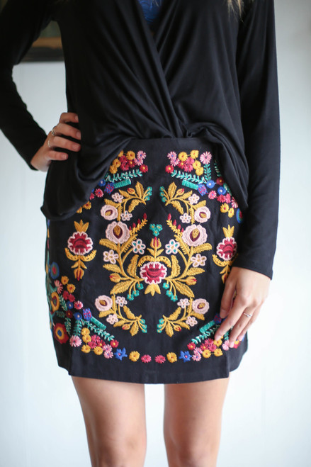 Stitched to Perfection Black Floral Embroidered Mini Skirt front view.