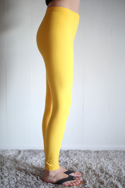 Simple Perfection Dark Yellow Butter Soft Leggings side view.