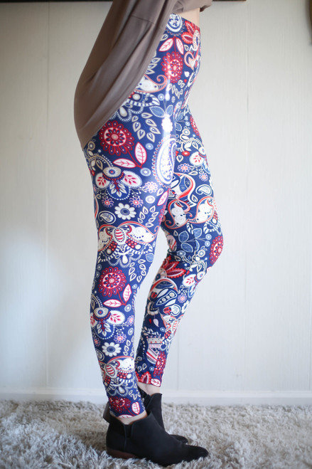 Curvy Call for Paisley Printed Butter Soft Leggings side view.