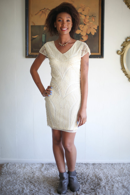 Down to the Details Cream Short Sleeve Beaded Dress full body front view.
