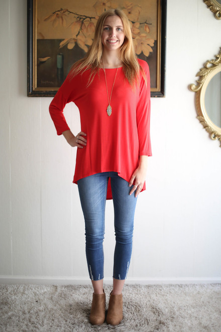 Simply Basics Red Slouchy 3/4 Sleeve Top full body front view.
