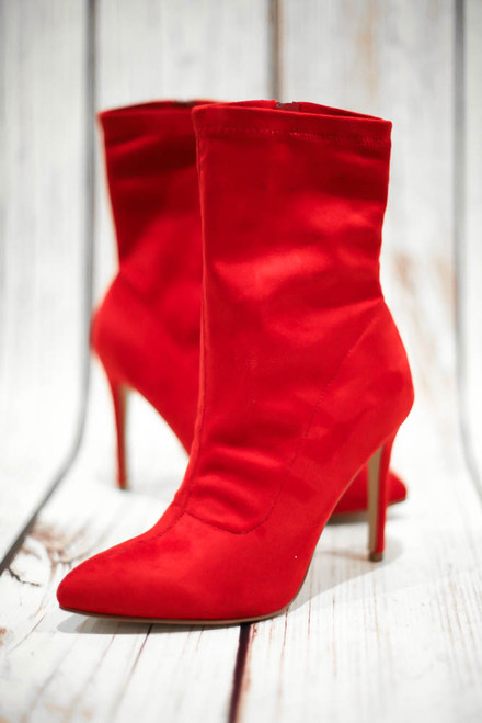 Scarlett Red Faux Suede High Heel Booties