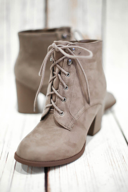 Harmony Taupe Faux Suede Lace Up Bootie