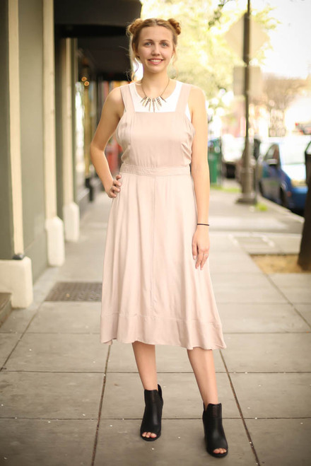 Natural Class Midi Dress with Button Down Back full body front view.