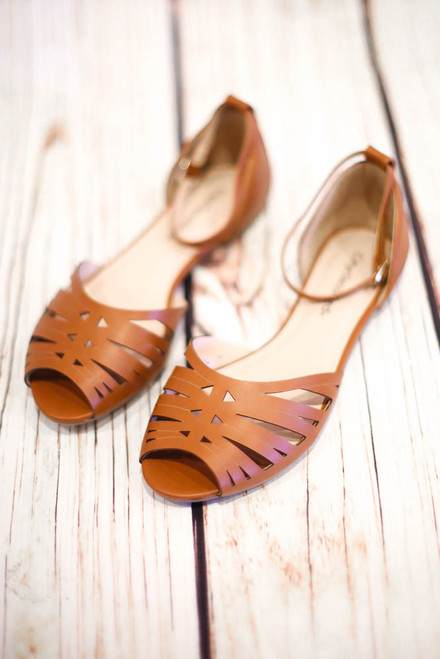 Arwyn Tan Laser Cut Sandals