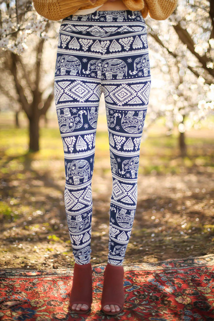 Navy and White Elephant Printed Butter Soft Leggings with Yoga Band front view.