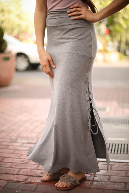 All Together Now Heather Grey Maxi Skirt with Lace Up Sides front-side view.