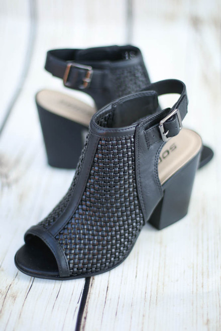 Raven Black Woven Bootie with Peep Toe