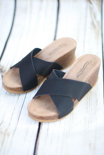 Helen Black Cork Platform Sandal