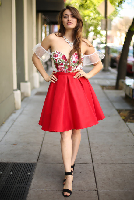 Rage in Ruby Red Floral Embroidered Off Shoulder Dress full body front view.