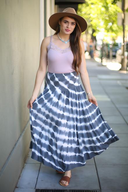 Tie Dye Love Flowing High Waist Maxi Skirt full body front view.