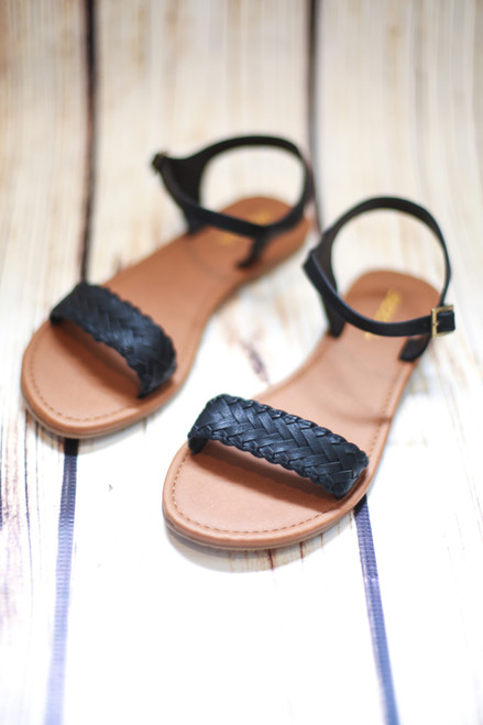 Margaret Braided Black Sandals
