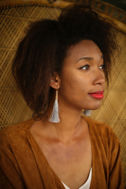 Gold and Gray Fringe Tassel Drop Earrings