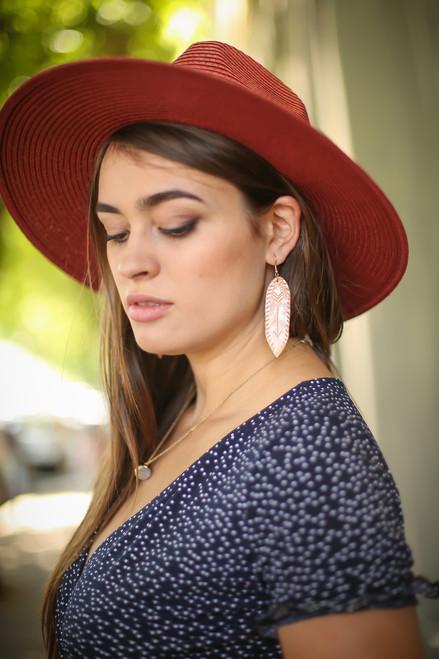 Faux Leather Arrow Earrings
