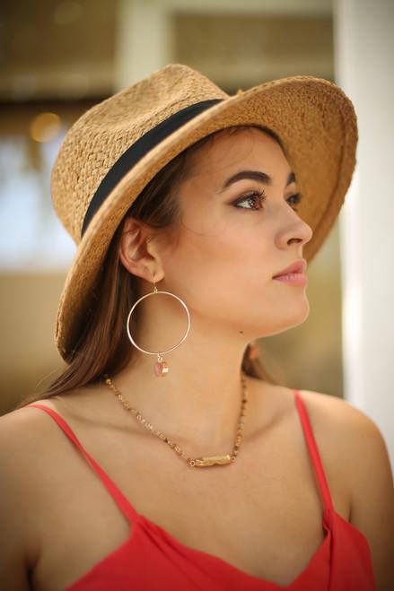 Gold Hoop Burnt Orange Druzy Drop Earrings
