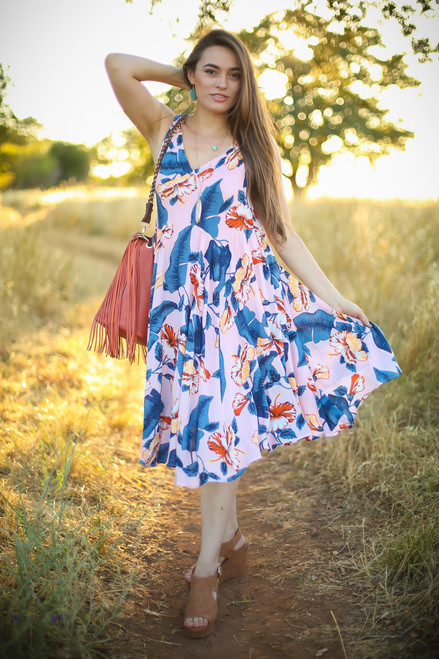 Tropical Vibes Pink Floral Printed Midi Dress front view.