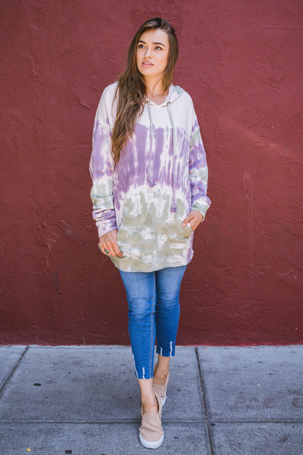 Totally Tie-Dye Loose Fit Hoodie Front View