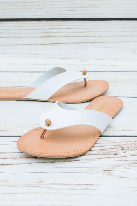Eris White Thong Sandal