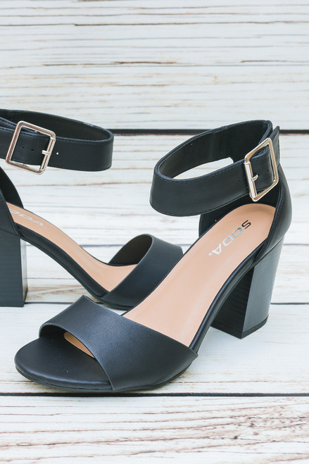 Cara Open Toe Black Heels with Ankle Strap