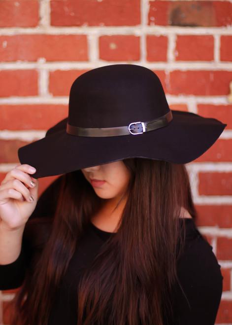 Black Floppy Hat front view.