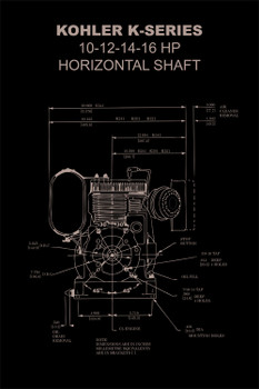 "Kohler K Engine Diagram Poster 12""x18"""