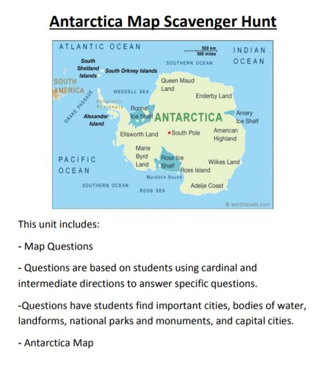 Antarctica map scavenger hunt amped up learning gumiabroncs Gallery