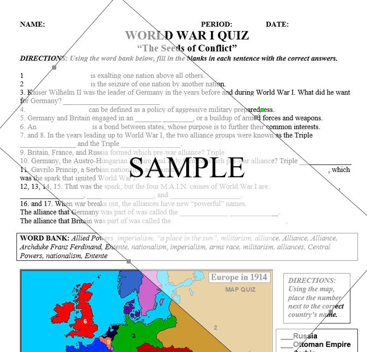 Wwi quiz causes and map amped up learning wwi quiz causes and map gumiabroncs Images