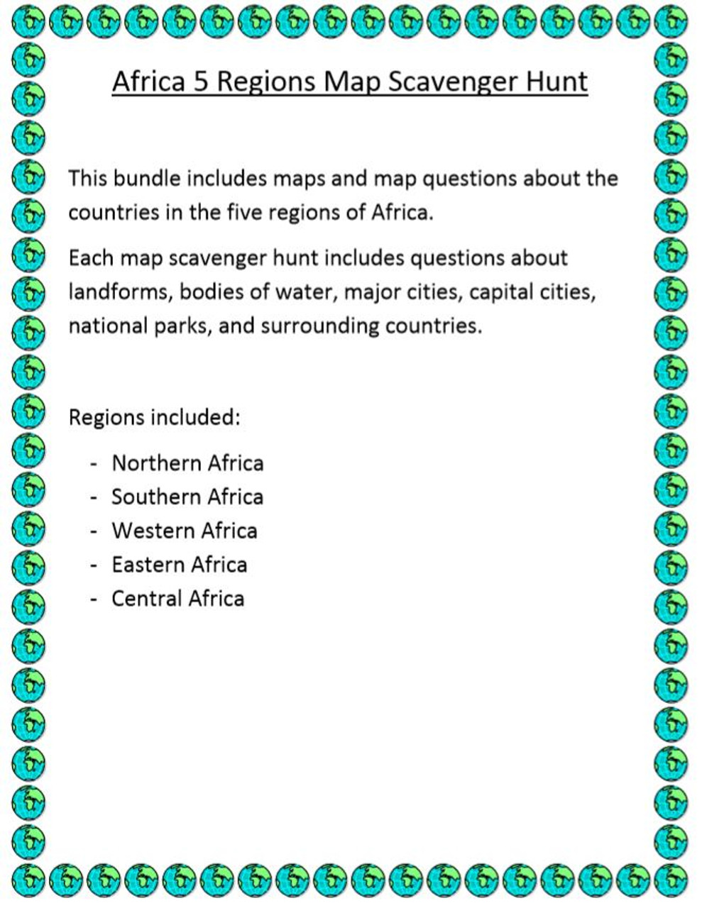 Africa 5 regions map scavenger hunt amped up learning africa 5 regions map scavenger hunt gumiabroncs Gallery