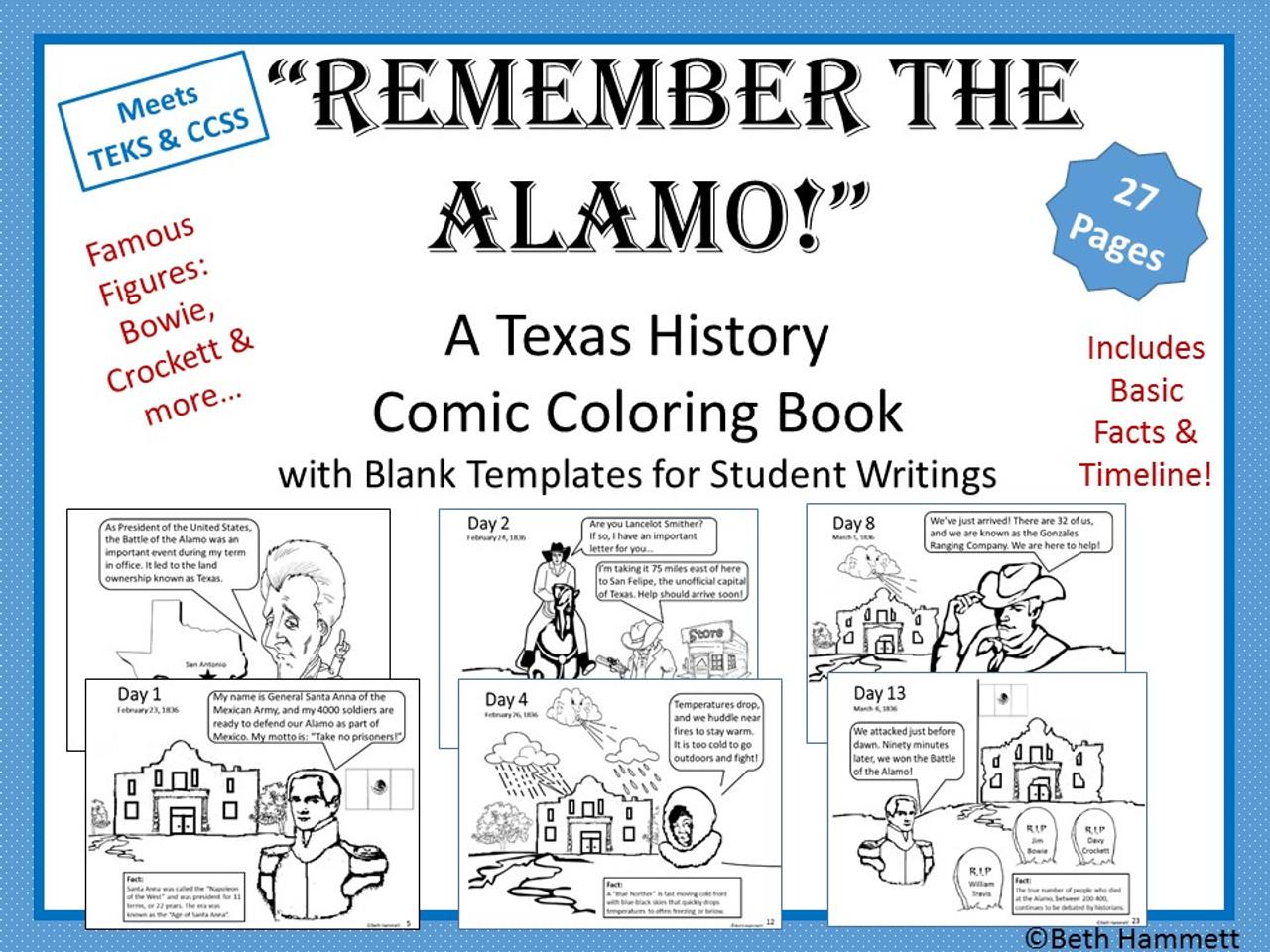 """Remember the Alamo!"" Texas History Comic Coloring Book ..."