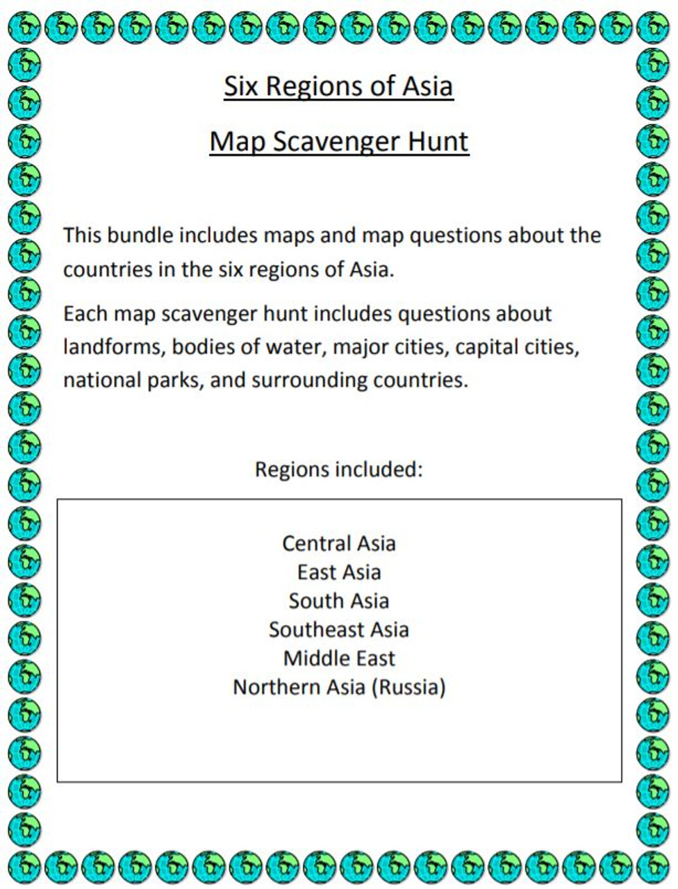 Six regions of asia map scavenger hunt amped up learning six regions of asia map scavenger hunt gumiabroncs Gallery