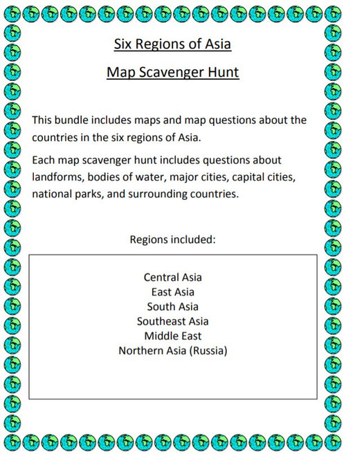Six Regions of Asia Map Scavenger Hunt Amped Up Learning