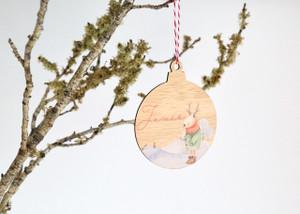Coloured - UV Printed - Personalised Snow reindeer Christmas tree decoration