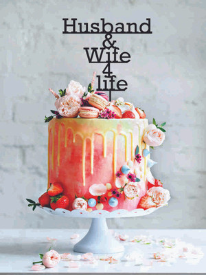 Husband and Wife for Life - Wedding - Wood Cake Topper / wooden topper