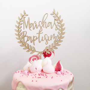 Wreath - Custom Baptism - Personalised Name Wood cake topper birthday decoration