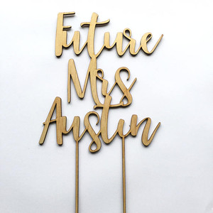 A Personalised Oh the placed - hot air balloon - Personalised Name Wood cake topper birthday decoration