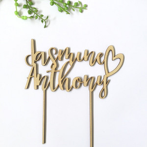 Personalised couple name with heart custom - Personalised Name Wood cake topper birthday decoration