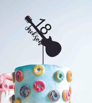 18 Guitar Music- Custom name - birthday  - Personalised Name Wood cake topper birthday decoration