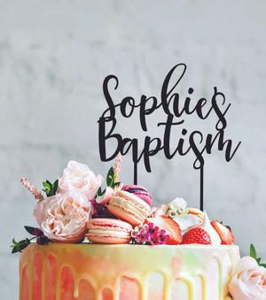 Personalised baptism - Custom name - birthday  - Personalised Name Wood cake topper birthday decoration